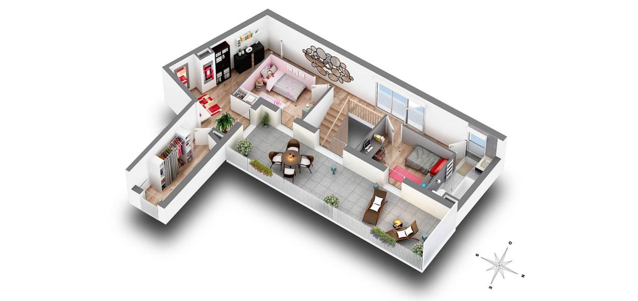 plan appartement 66m2. Black Bedroom Furniture Sets. Home Design Ideas